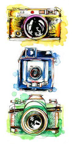 Vintage Cameras. 10 Handpainted clipart, wedding elements, flowers.