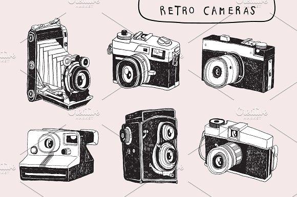 6 Retro Camera Clip Art Drawing ~ Objects on Creative Market.