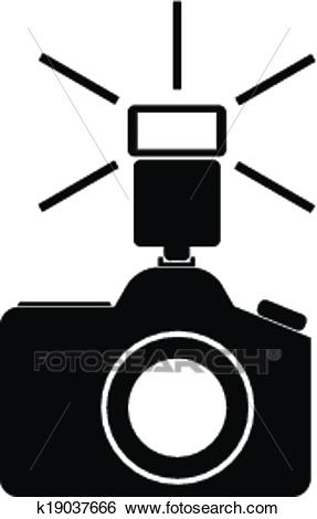 Camera with flash Clip Art.