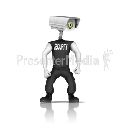 Guard With Security Camera Head.
