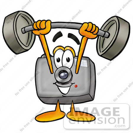 Clip Art Graphic of a Flash Camera Cartoon Character Holding a.