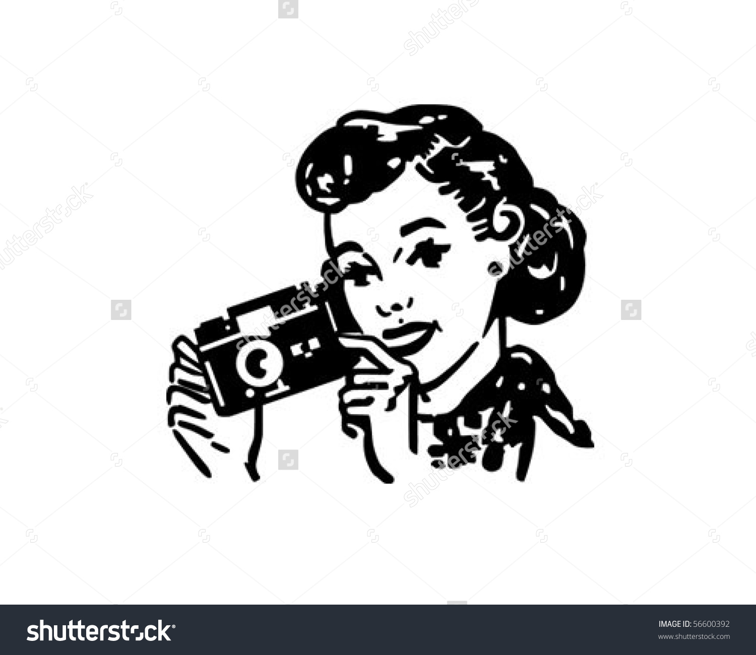 Woman Camera Retro Clip Art Stock Vector 56600392.