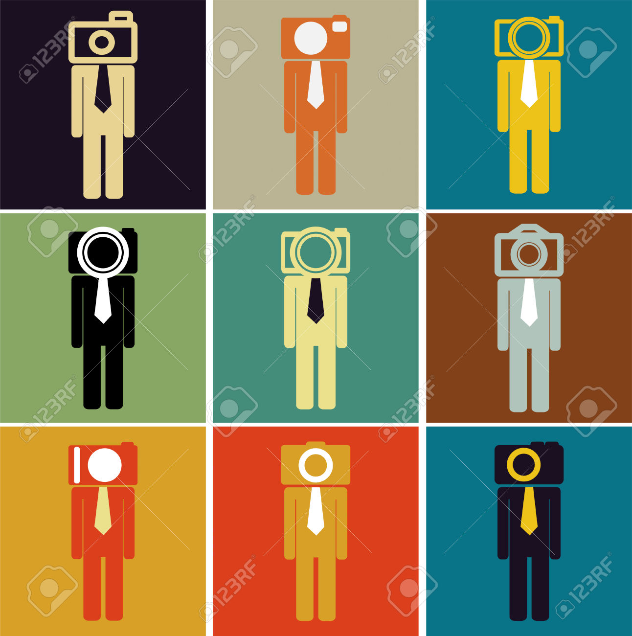 Business Man Camera Head Set Vintage Color Royalty Free Cliparts.