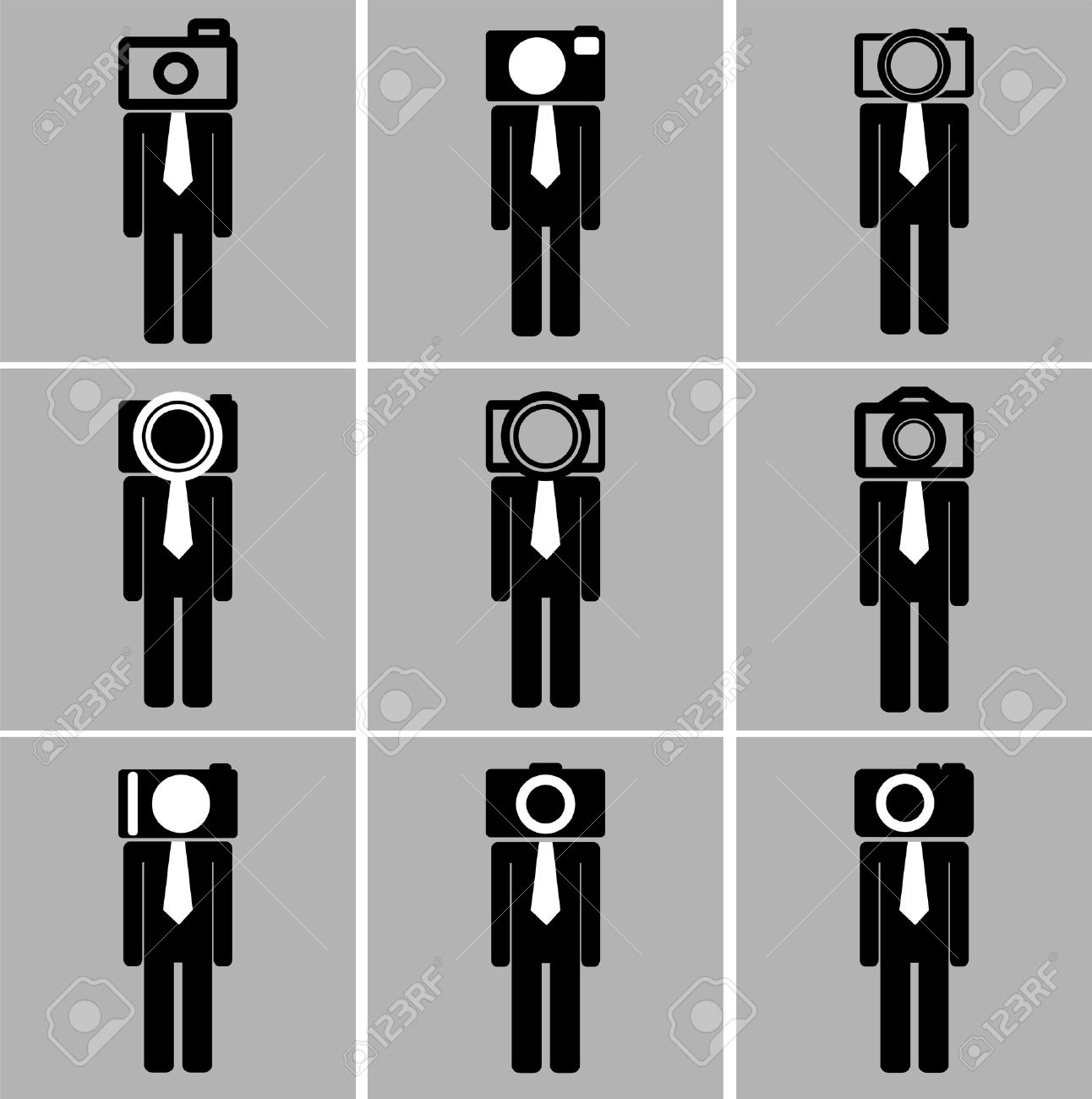 Business Man Camera Head Set Back And White Color Royalty Free.