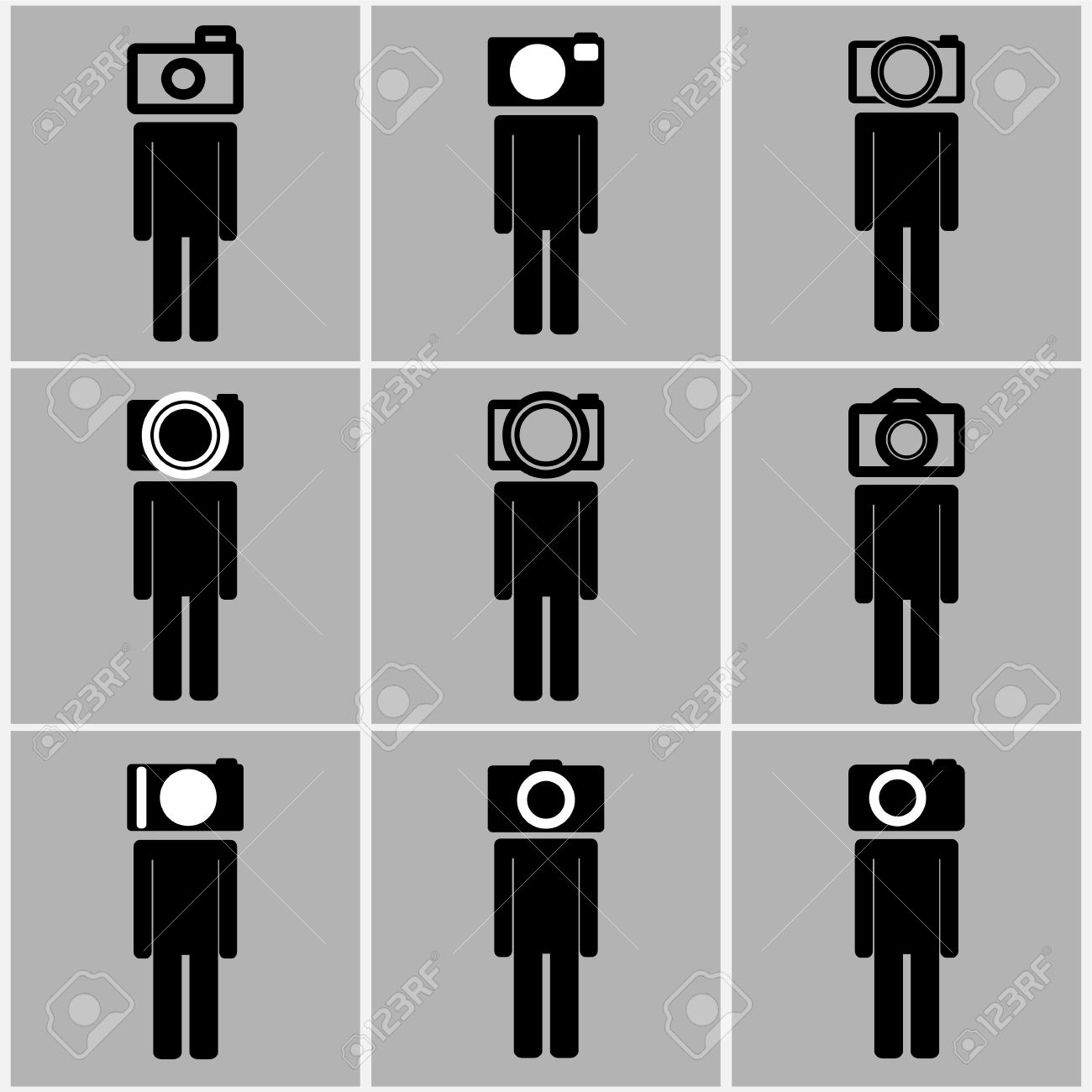 Camera Head Men Set Concept Ideas Black And White Color Royalty.