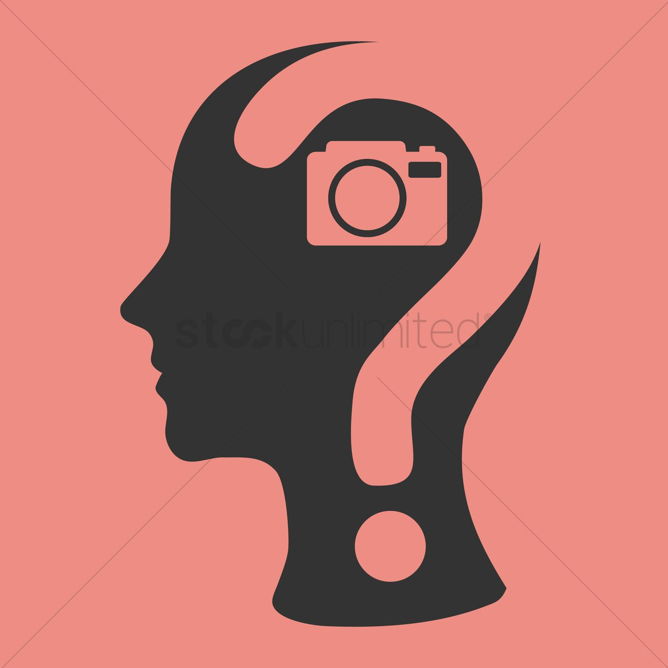Human head with question mark and a camera Vector Image.