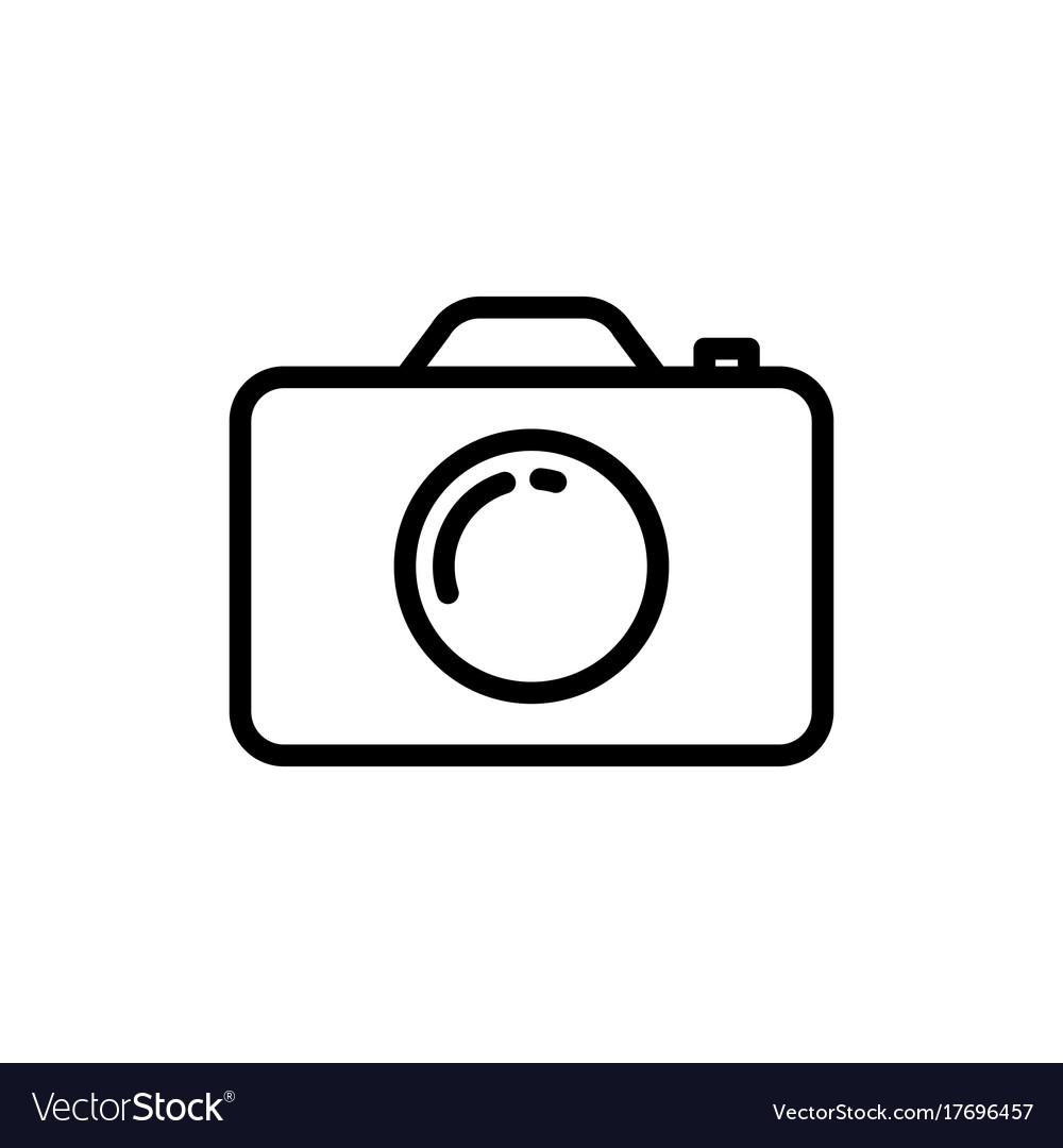 Line camera icon on white background.