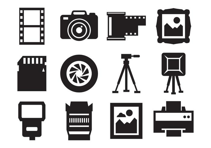 Free Photography and Camera Icons Vector.