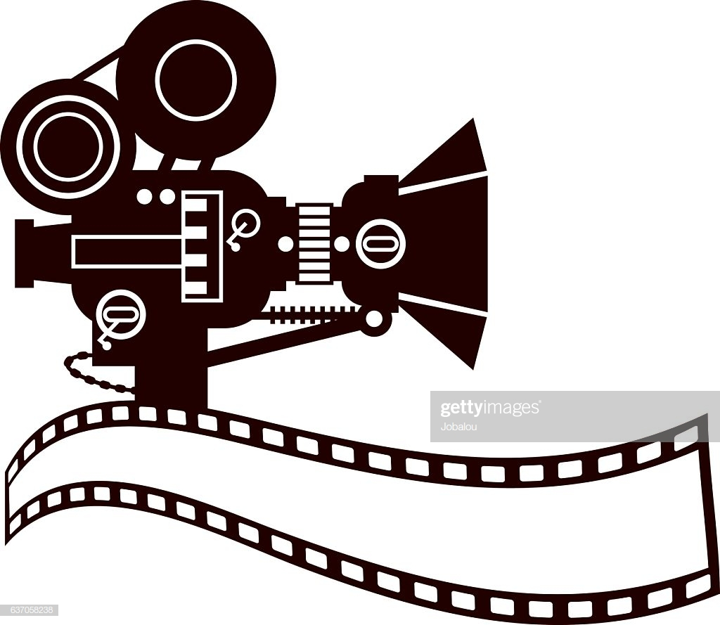 Vintage Movie Camera Clip Art stock illustration.