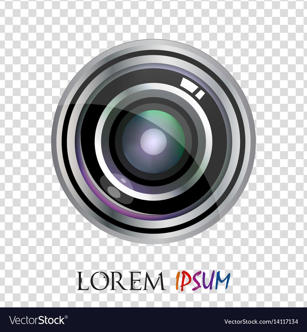 Modern realistic flat lens logo design isolated.