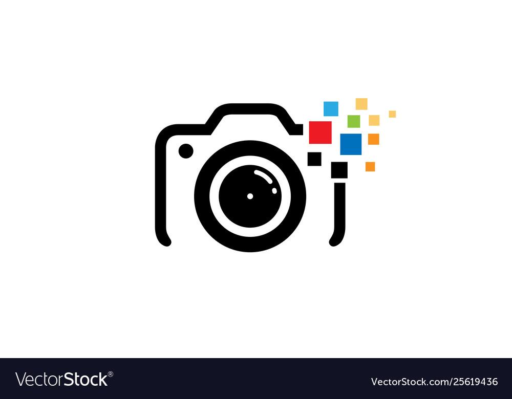 Creative black camera colorful pixel logo design.