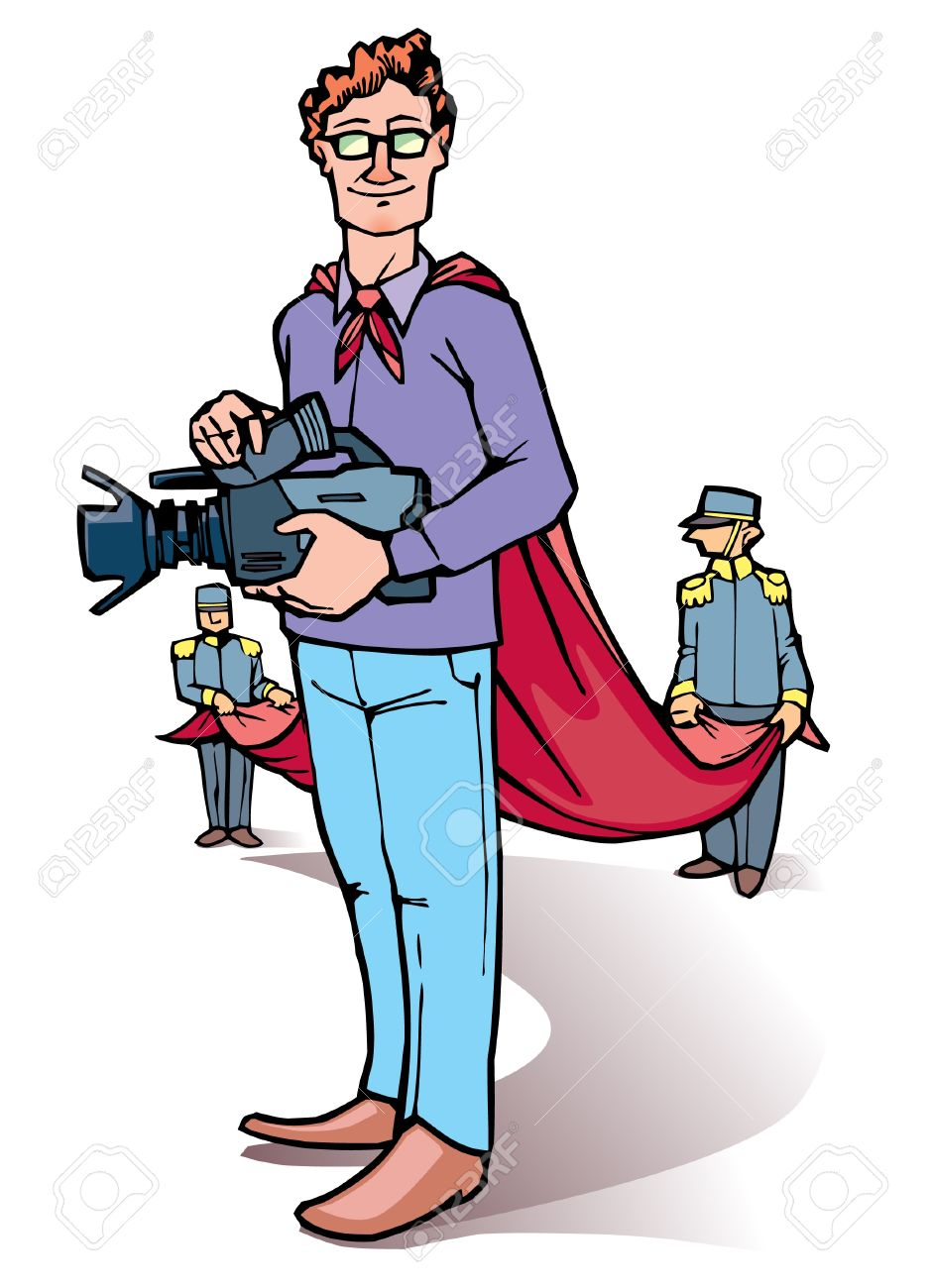 Stage Director Is Standing With The Camera. Royalty Free Cliparts.