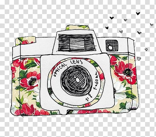 Overlays , white, red, and green camera sketch illustration.