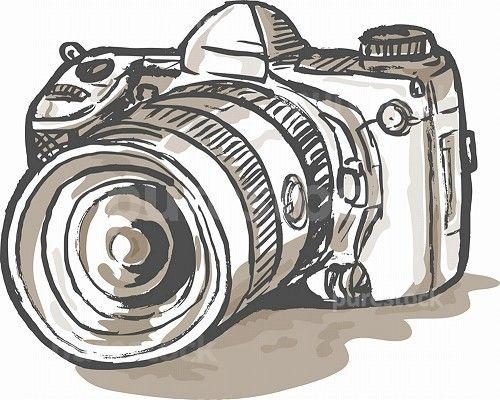 hand sketch drawing illustration of a digital SLR camera. drawing of.