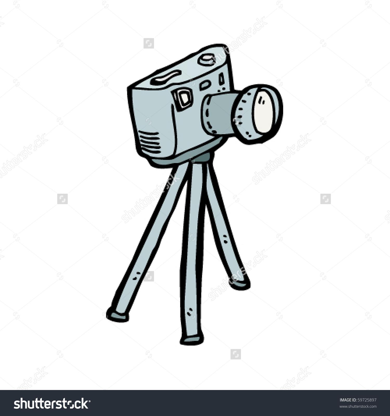 Camera On Tripod Cartoon Stock Vector 59725897.