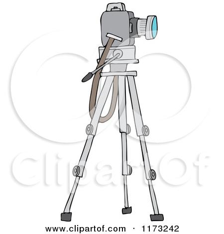 Cartoon of a Camera on a Tripod Stand.