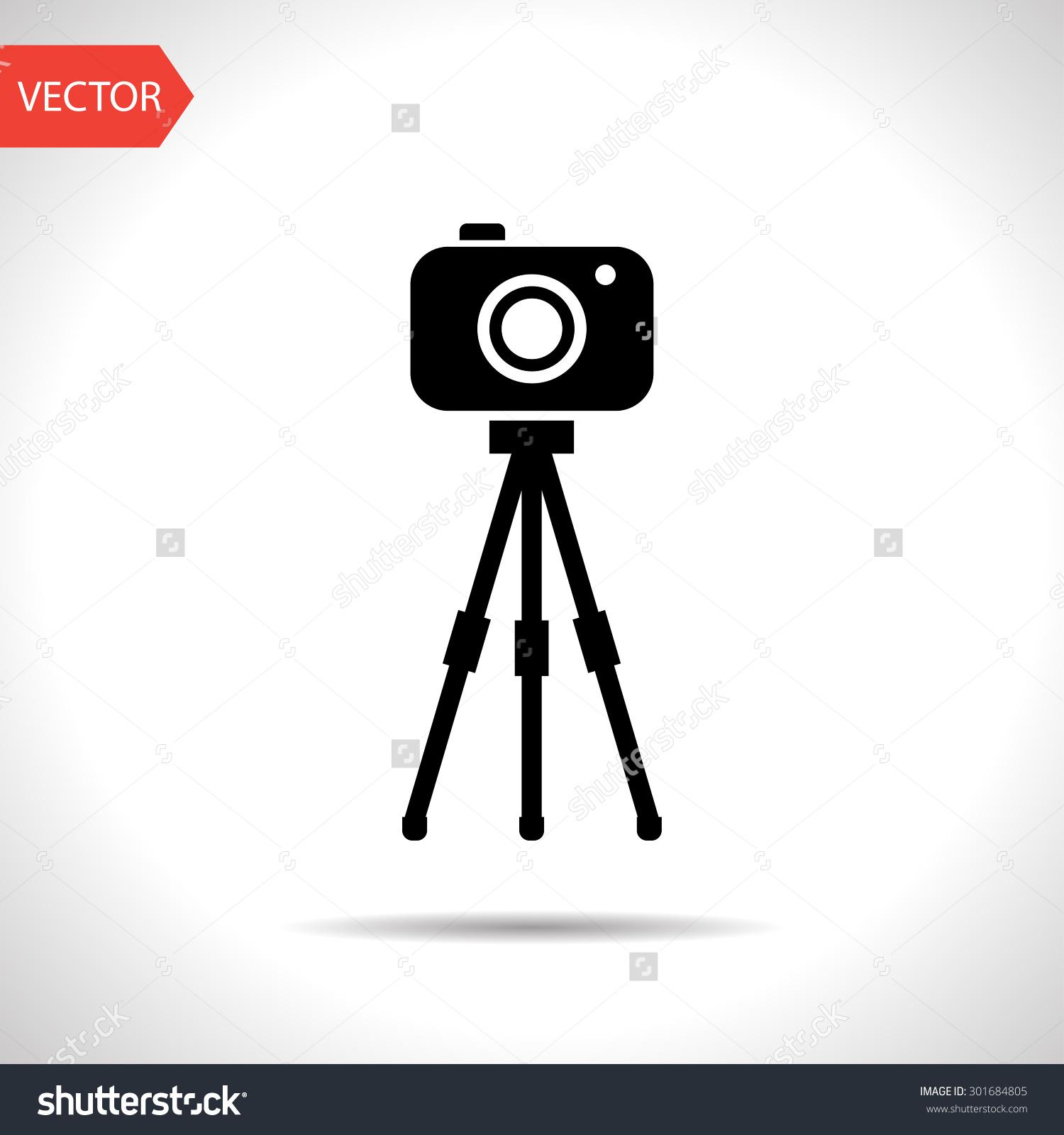 Camera On Tripod Icon Stock Vector 301684805.