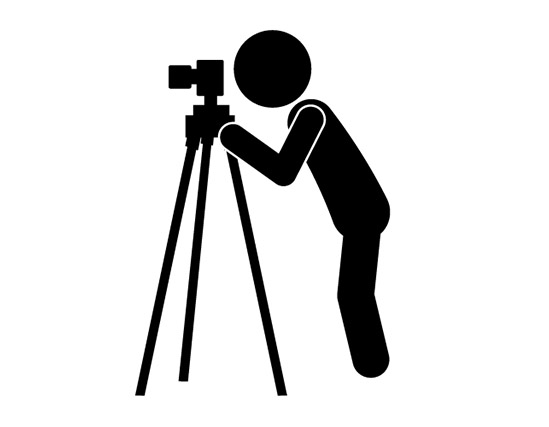 Camera on tripod clipart.