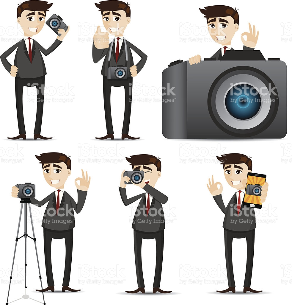 Cartoon Businessman With Camera Dslr stock vector art 494055325.