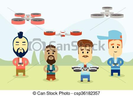 Clipart Vector of Casual Man Group With Drone Video Camera Remote.