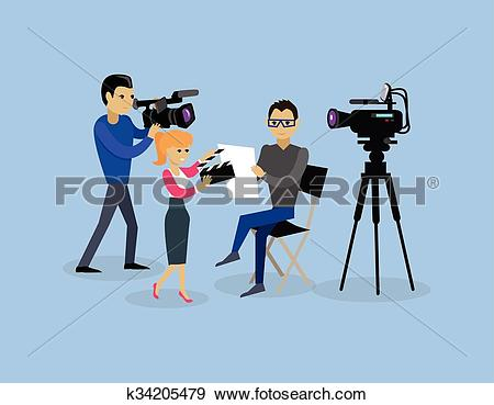 Clip Art of Camera Crew Team People Group Flat Style k34205479.