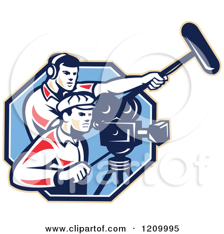 Clipart of a Retro Camera Man Team with Gear.