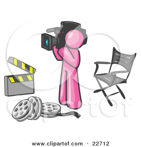 Clipart Illustration of a Pink Man Filming a Movie Scene With a.