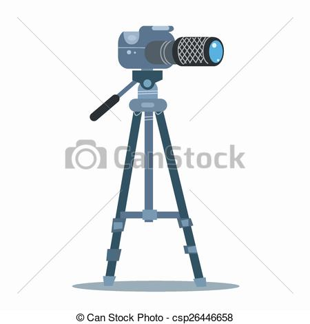 Clipart Vector of camera tripod static professional photography.