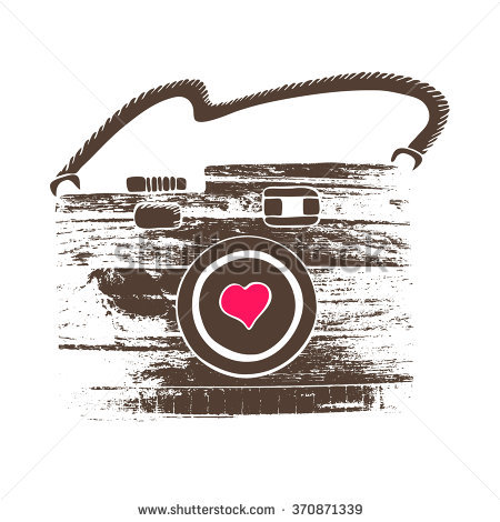 Vector Hand Drawn Illustration Photo Camera Isolated With Texture.