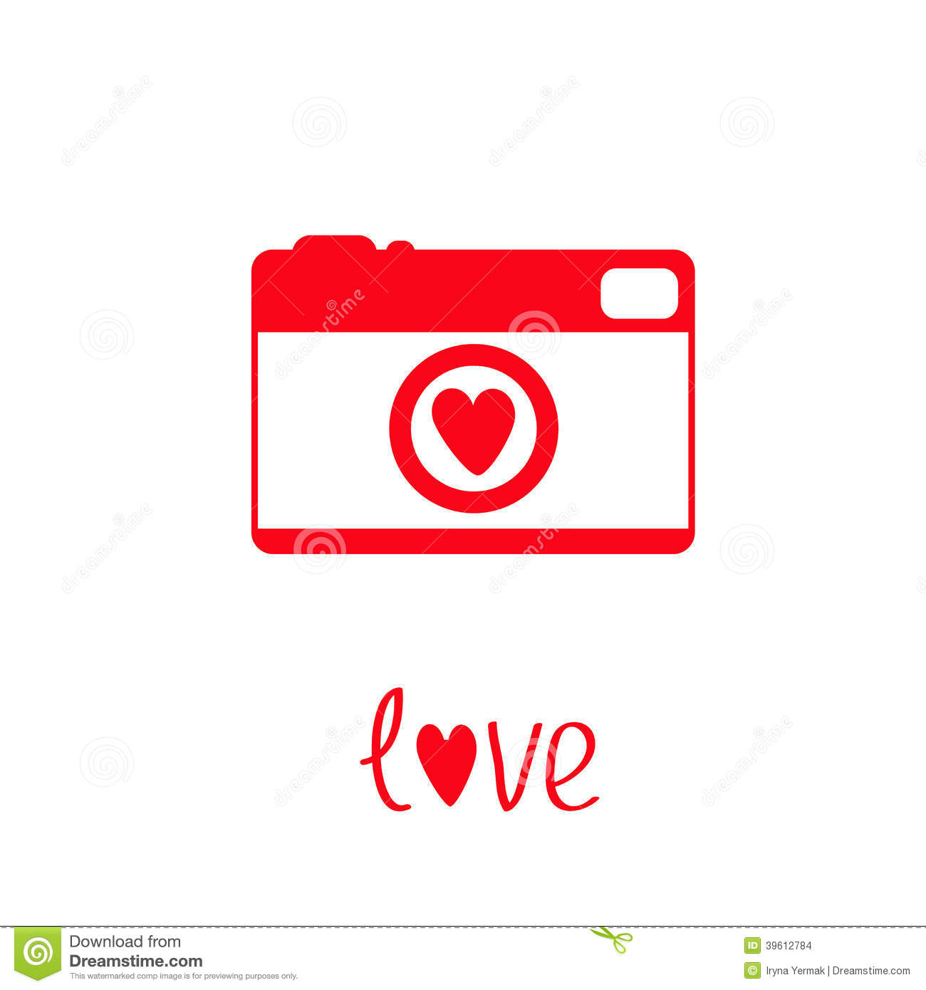 Red And White Photo Camera With Heart. Love Card. Stock Vector.