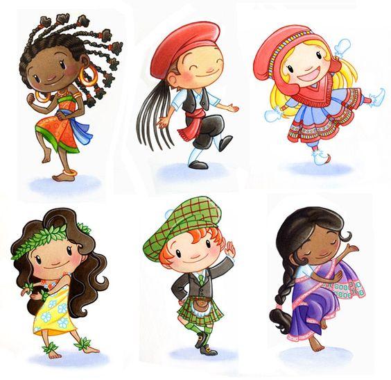 Cameroon, Greece, Sami, Hawaiian, Scottish, Indian Children Around.