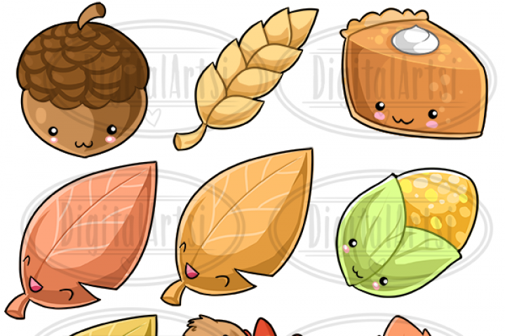 Kawaii Thanksgiving Clipart by Digitalartsi.