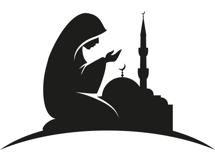 Clipart cami önünde dua eden bayan.