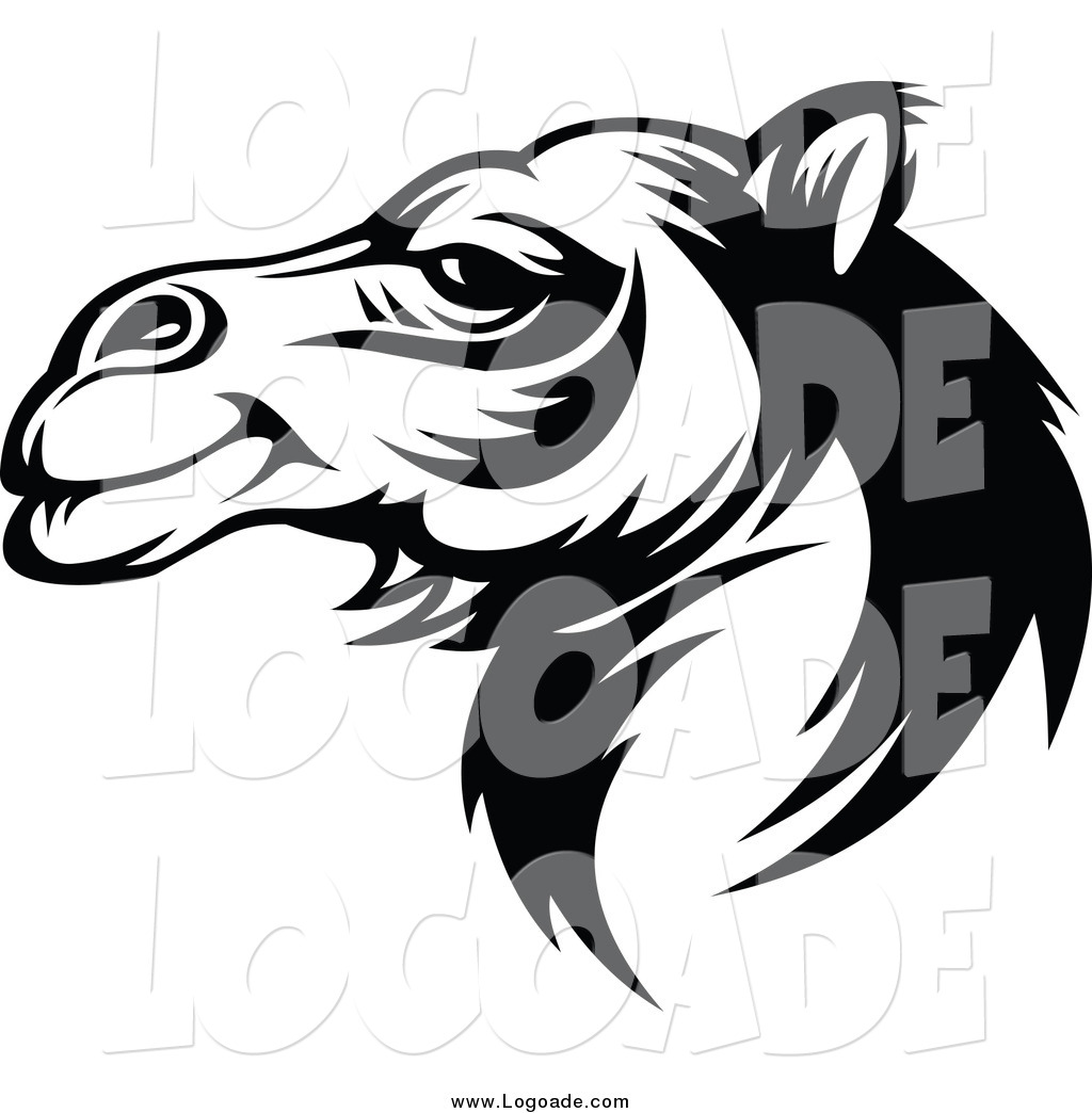 Clipart of a Black and White Camel Logo by Vector Tradition.