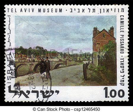 Stock Images of Camille Pissarro Landscape with Brige, Tel Aviv.