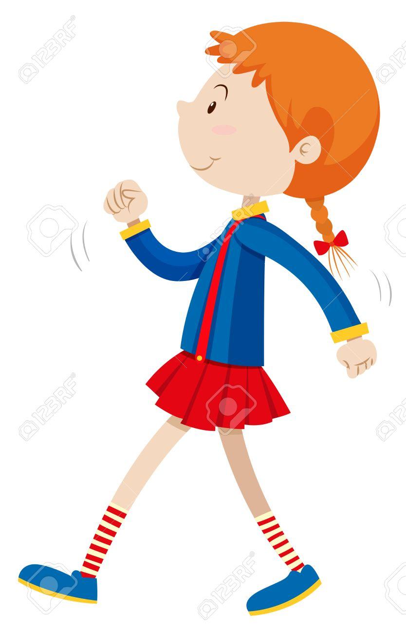 Little Girl Walking Clipart.