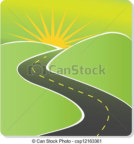 Clip Art Vector of Road to sun vector stock csp12163361.