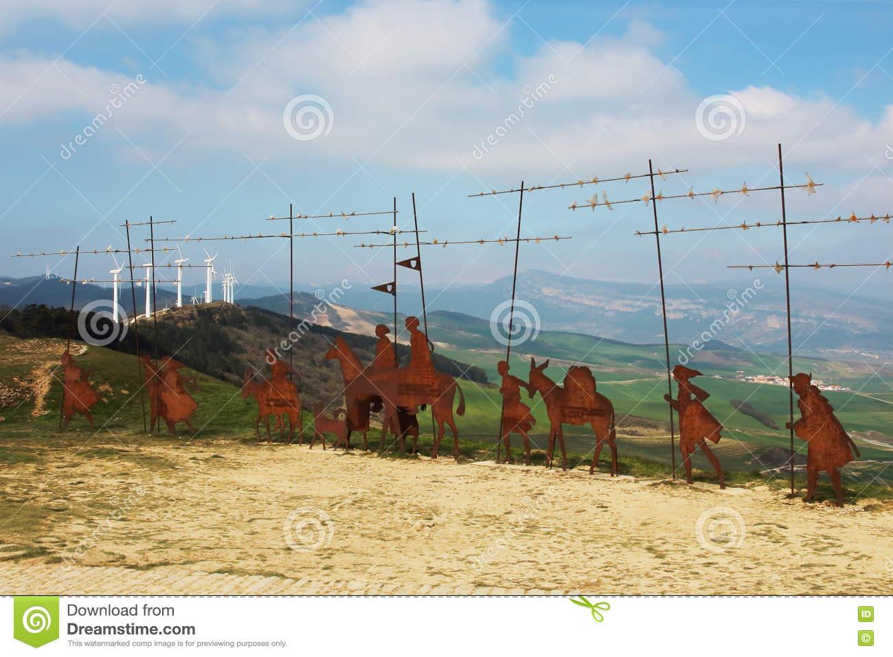 Metal Pilgrim Statues In Puerto Del Perdon Mountain Port, Camino.