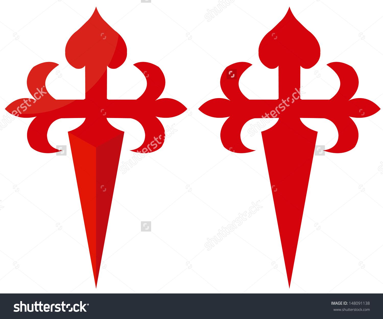 Red Cross Symbol Camino De Santiago Stock Vector 148091138.
