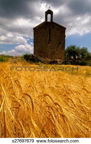 Stock Photograph of Spain, Camino Santiago San Miguel chapel.
