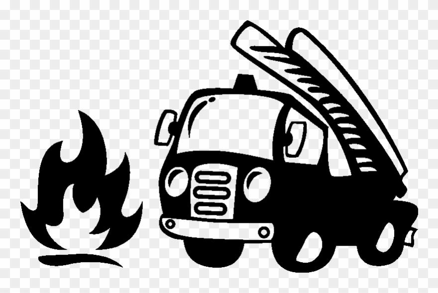 Sticker Camion De Pompier Et Flamme Ambiance Sticker Clipart.