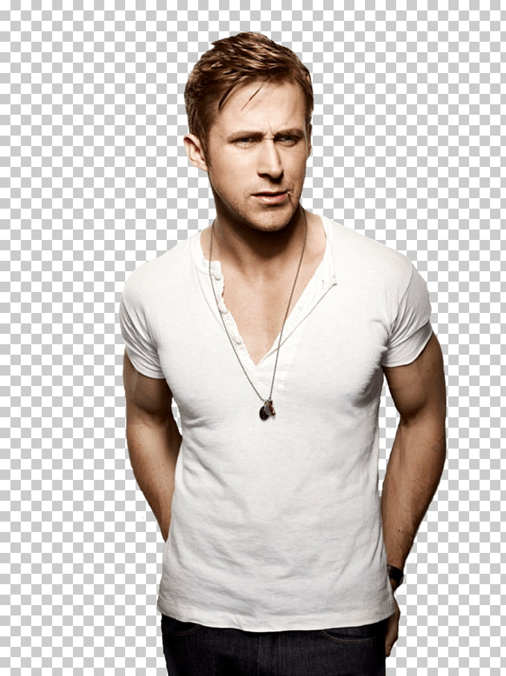 Hombre en camisa blanca con cuello en v, ryan gosling.