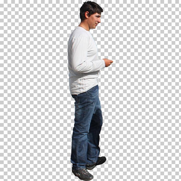 Hombre en pie camisa blanca de manga larga, persona de pie.