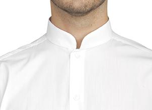 Camisa de hombre manga larga cuello mao botón oculto blanca ROGER  922.