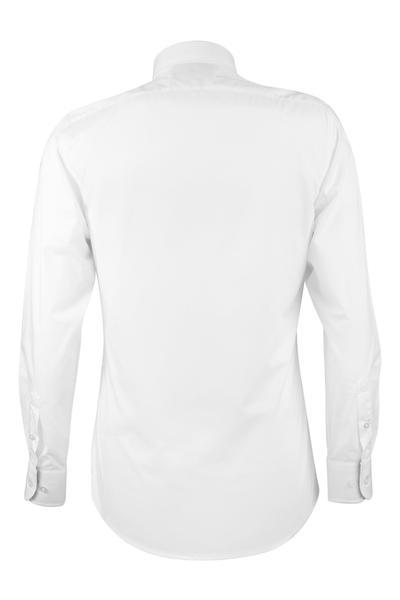 Camisa blanca con detalles en puños y cuello slim fit.