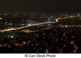 Stock Photography of Istanbul Bosphorus Bridge from Camlica Hill.