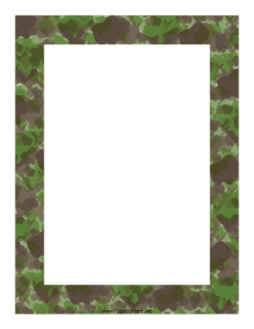 This camouflage border, in shades of green, olive, and brown.