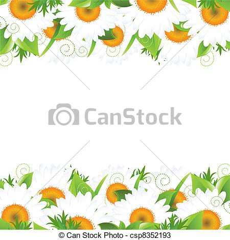 Vectors of Camomile And Leaves Border, Vector Illustration.