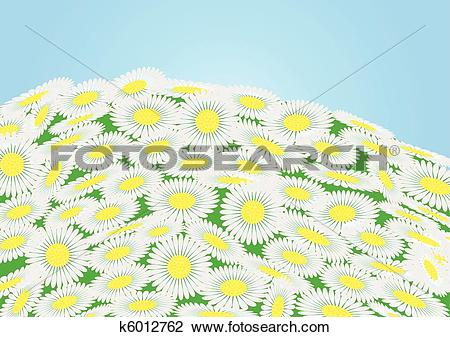 Clipart of Green field with chamomile flowers and blue sky, vector.