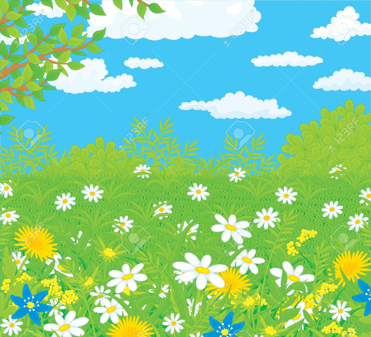 Field With Flowers Royalty Free Cliparts, Vectors, And Stock.